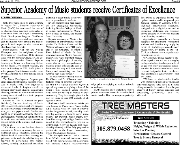 2013 Article in Miami Community Newspapers